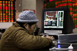 An investor checks his stocks' situation in the last day of the year in a brokerage house in Shanghai