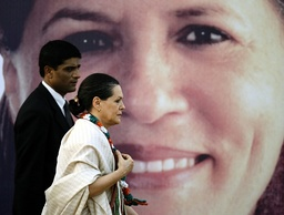 India's ruling Congress Party President Gandhi attends a public rally in Mumbai