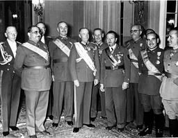 Walther von Brauchitsch with Spanish and Italian officers at a reception, 1939