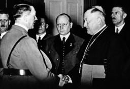 Prince Bishop Heffter greets Reich Chancellor Adolf Hitler in Klagenfurt, 1938