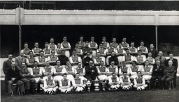 Arsenal Football Club Team Group 1950. Top Row Standing From Left: John Chenhall R Barr D Tilley D Oakes Cliff Holton Reuben Marden And Thomas Vallance. 2nd Row Standing From Left: E Stanley Don Rossiter W Healey Dave Bowen Len Davis G Dunkley P Hanc