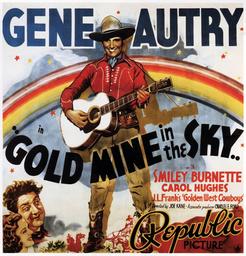 GOLD MINE IN THE SKY, center: Gene Autry, bottom from left: Carol Hughes, Smiley Burnette, 1938.