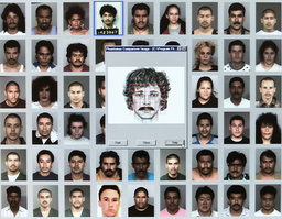 AN IDENTIKIT PICTURE IS SEEN ON A SCREEN IN BERLIN