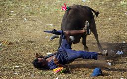 TOPSHOTS-COLOMBIA-BULLFIGHT-CORRALEJAS-ACCIDENT