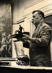 Henry Moore Sculpture 'figure On Square Steps' In Bronze Being Auctioned At Christie's.