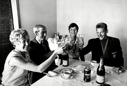 Medallist's Champagne Breakfast At London Airport - 1968 (l-r) Lilian Board David Hemery Sheila Sherwood And John Sherwood.