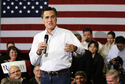Republican presidential candidate Romney speaks to supporters in Council Bluffs