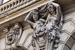 France. Paris (10th district). Facade's ornament detail of the Renaissance Theater (inaugurated in 1838 and of Alexandre Dumas's volition)