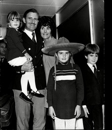 Racing Driver Graham Hill With Wife Bette Hill And Children Samantha Hill Bridget Hill And Damon Hill At Heathrow Airport.