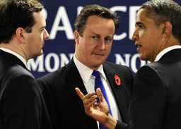 British Chancellor of the Exchequer Osbourne, Britain's Prime Minister Cameron and U.S. President Obama discuss before a meeting on the second day of the G20 Summit in Cannes