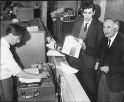Sir Bernard Lovell With The First Detailed Picture Of The Moons Service Received At Jodrell Bank From The Russian Space Station Luna 9.