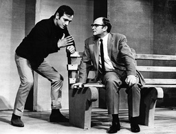 Rehearsal Of 'the Zoo Story' At The Theatre Royal Stratford. Steven Berkoff And Ewan Hooper In One Of Scenes.