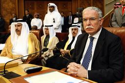 Palestinian FM Riyad al-Malki and Qatar's FM Sheikh Hamad Bin Jassim bin Jabr Al-Thani (L) attend the Arab foreign ministers meeting at the Arab League headquarters in Cairo