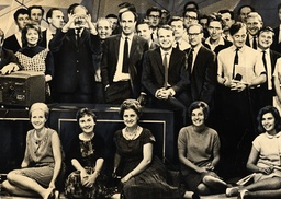 Elizabeth Cowley Television Producer And Writer. Pictured Left In V Necked Dress With The Cast Of The Television Programme 'tonight' When She Was An Assistant Editor