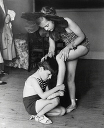 The Hon. Raymond O'neill Tying On The Ballet Shoes Of Lady Caroline Blackwood During Dance Rehearsal.