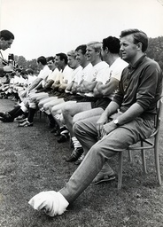 Spurs In Training Today At Cheshunt And Posing For Team Photos. Terry Medwin The Spurs Winger Who Injured His Ankle Last Season Lines Up With Team With His Leg Still In Plaster