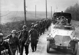SS grenadiers on the way to the front in Hungary, 1945