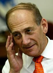 ISRAELI VICE PREMIER EHUD OLMERT ATTENDS A MEETING IN HIS JERUSALEM OFFICE