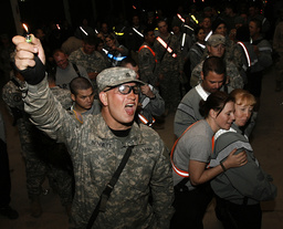 U.S. soldiers celebrate the new year at U.S. military Camp Taji near Baghdad