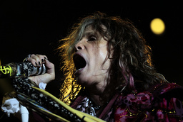 Steven Tyler, the lead singer of rock band Aerosmith, performs at a concert during the band's Latin America tour in Bogota