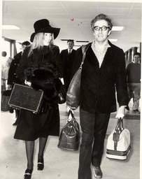Comedian Peter Sellers Arrives From Los Angeles With A New Girlfriend Miranda Quarry.