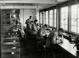 Sherborne School In Dorset 1930's. Pupils At Work In The Laboratory At The Public School.