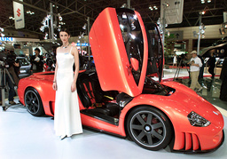 A MODEL STANDS IN FRONT OF THE VOLKSWAGEN W12 SPORTS CAR AT THE TOKYO MOTOR SHOW IN MAKUHARI