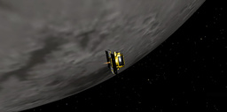An artist's concept of GRAIL-B performing its lunar orbit insertion burn is seen
