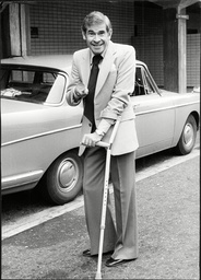 Actor And Comedian Stanley Baxter Leaving St Thomas's Hospital On Crutches After Breaking His Pelvis In A Slapstick Scene During His Tv Show.