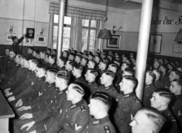 Soldiers listen to a speech of Adolf Hitler, 1936