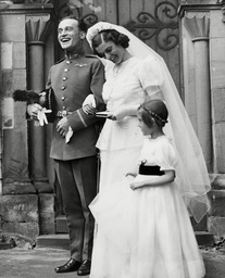 Flying Officer Edward Graham With His Bride Miss Jean Laidley After Their Wedding. Box 667 209021635 A.jpg.