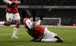 Arsenal's Adebayor celebrates scoring a goal during their English Premier League soccer match at The Emirates Stadium in London