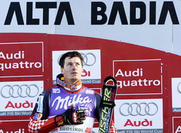 Kostelic of Croatia celebrates after winning the the men's slalom event at the Alpine Skiing World Cup in Alta Badia