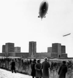 The airships 'Graf Zeppelin' and 'Hindenburg' above the Tannenberg Memorial, 1936