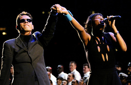 SINGERS MARC ANTHONY AND MARY J BLIGE PERFORM DURING SUPER BOWL CEREMONIES