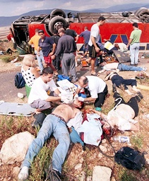 ISRAELIS KILLED AND INJURED AFTER TOUR BUS PLUNGES OFF ROAD