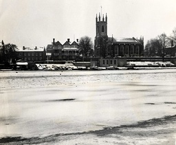 Big Freeze Of 1963 The Ferry On The Thames At Hurst Park Was Also Ice-hit But The Ducks Could Walk Across. Looking At The Church From Surrey Bank.