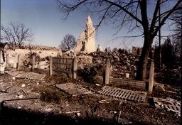 Yugoslavia Civil War 1991 - Vocin's 14th Century Church In Croatia Blown Apart By Fleeing Chetnik Guerrillas.