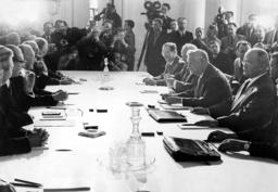 Konrad Adenauer with Nikolai Bulganin in Moscow, 1955