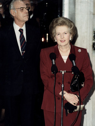 Baroness Thatcher, Lady Thatcher, Margaret Thatcher, Denis Thatcher Former Prime Minister speaking outside Downing street with husband