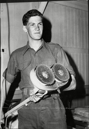 Private Richard Wrottesley With Floor Polishing Gadget 1963.