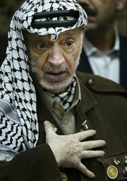 PALESTINIAN PRESIDENT YASSER ARAFAT GESTURES DURING A MEETING WITH AN ITALIAN DELEGATION AT HIS HEADQUARTERS IN RAMALLAH