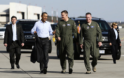 U.S. President Obama is escorted to Air Force One by Gorenc, USAF Europe Commander, and Brig. Gen. Mordente at Ramsteim Air Base