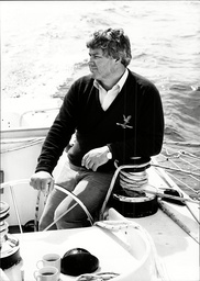 Chay Blyth Yachtsman In His Racing Trimaran 'brittany Ferries Gb' Off Plymouth 1982.