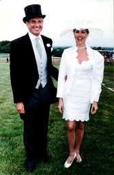 American Actor George Hamilton And Model Denice Lewis At The Epsom Derby 06/06/90