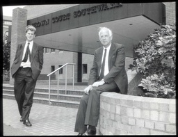 Businessman Ernest Saunders With Son James At Southwark Crown Court.