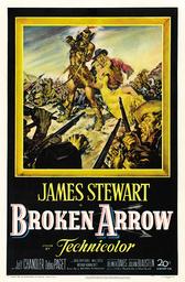 BROKEN ARROW, US poster art, from left: Jeff Chandler, Debra Paget, James Stewart, 1950, TM and Copy