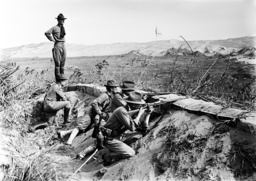 The Mexican Revolution. American infantry take position outside of the American-occupied port city o