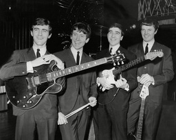 Pop Group The Swinging Blue Jeans L-r Ray Ennis Norman Kuhlke Ralph Ellis And Les Braid The Swinging Blue Jeans Were A Four Piece 1960s British Merseybeat Band Best Known For Their Hit Singles With The Hmv Label; 'hippy Hippy Shake' The Follow-up L