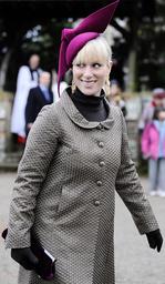 Britain's Zara Phillips leaves Sandringham church following the annual Christmas Day church service at Sandringham Estate in Norfolk